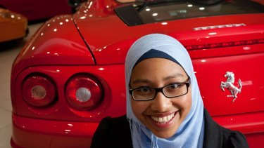 Mechanical Engineer and Ferrari fan Yassmin Abdel-Magied in the EuroMarque Ferrari dealership in Brisbane for a twelve days of Christmas special.