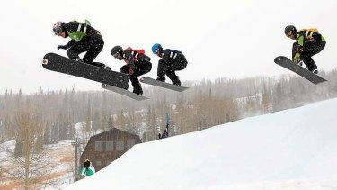 Taking flight: Alex Pullin leads the field in a World Cup event in Telluride, Colorado.