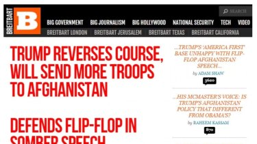 Breitbart's homepage with five headlines incredibly critical of Donald Trump.