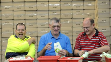 In for the long haul...Andrew West, 45, Darryl Howard, 52,  and David Watling, 60, at Ozanam Industries.