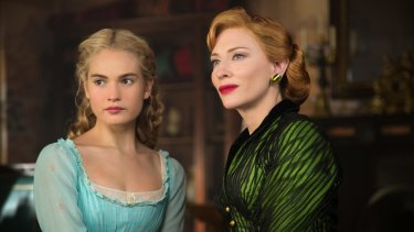 Lily James as Cinderella and Cate Blanchett  as her evil stepmother in the Kenneth Branagh production.