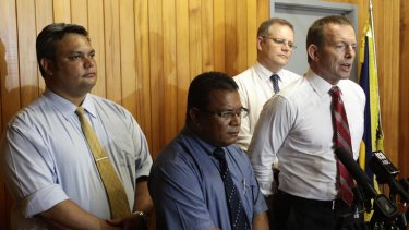 Outgoing Nauru foreign minister Keiren Keke and president Marcus Stephen photographed with shadow immigration minister Scott Morrison and Opposition Leader Tony Abbott in June.