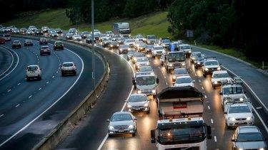 Morning traffic jam on the Eastern Freeay. 18 February 2016. The Age NEWS. Photo: Eddie Jim.