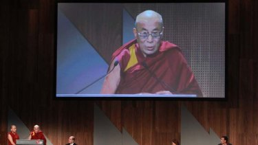 Dalai Lama at the Melbouren Press Club yesterday.