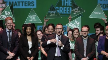 Greens leader Richard Di Natale addressing supporters on Saturday night.
