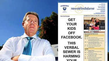 "Lindisfarne principal Chris Duncan and the school newsletter bearing his stark warning about Facebook. <a href=""http://www.mydailynews.com.au/story/2011/09/22/get-kids-off-facebook""><b>Photo: John Gass/Daily News</a></b>"