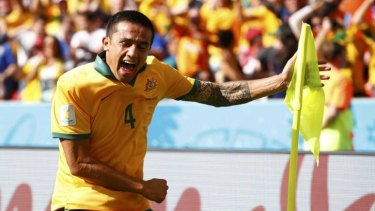 Cup gone? Tim Cahill celebrates after scoring against the Netherlands during the 2014 World Cup in Brazil.