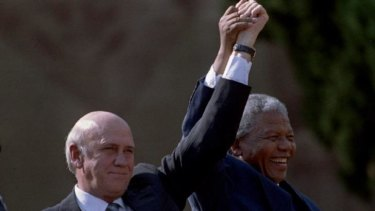 Tension: Nelson Mandela and F.W. de Klerk after Mandela's inauguration as president on May 10, 1994.