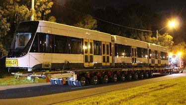 Better late than never: the first of Melbourne's new E-Class tram arrives in town.