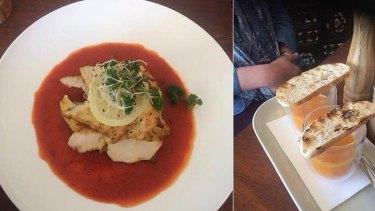 The $29 set lunch menu includes mini soup and sourdough (right).