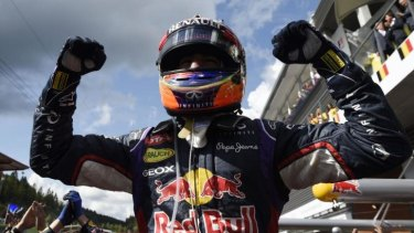 Red Bull's Daniel Ricciardo rejoices in the parc ferme after his win on Sunday.