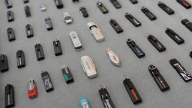 This photo shows various thumb drives displayed at the office of Trek 2000 International in Singapore.