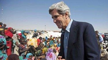 US Senator John Kerry visits a refugee camp in Darfur.