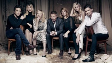 Agents of change: Chris Ryan (left), Jacqueline McKenzie, Cate Blanchett, Richard Roxburgh, Susan Prior, Anna Bamford and Toby Schmitz star in the Sydney Theatre Company's <i>The Present</i>.