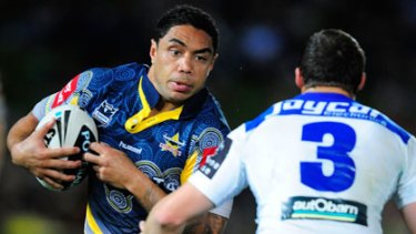 Willie Tonga of the Cowboys and Josh Morris of the Bulldogs during the match in question last year.