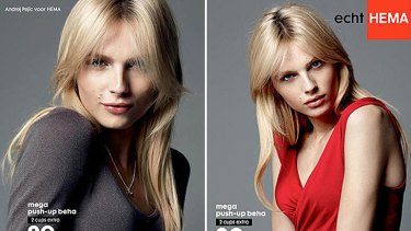 Andrej Pejic models a push up bra for Dutch department store Hema.