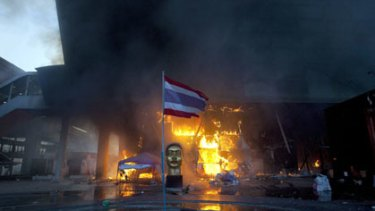 Bangkok's Central World shopping mall burns after yesterday's violence.