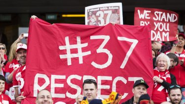 Fans celebrate Adam Goodes at the SCG.