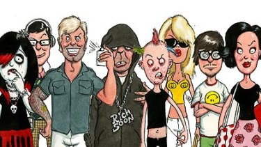 The tribes, from left: The Emo, The SuperGeek, The Jock Dolly, The Gangsta, The Punk Lite, The Glamazon, The Hipster, and The Techno Boho.