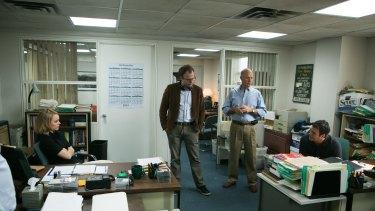 Spotlight director Tom McCarthy on set with Rachel McAdams, Michael Keaton and Mark Ruffalo.