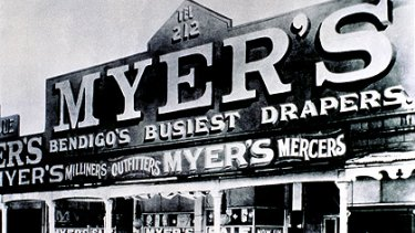 From a drapery in Bendigo (above) to Bourke Street, Myer has racked up 108 years of shopping history.