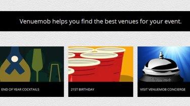 A screen grab from the Venuemob website.