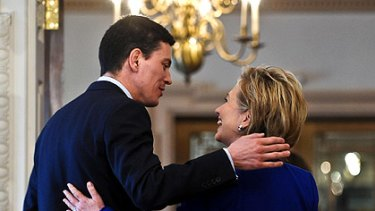 Close but not too close: British Foreign Secretary David Miliband met US Secretary of State Hillary Clinton earlier this week.