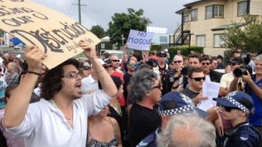 Police were forced to close streets as Mosque protesters clashed on the Sunshine Coast.