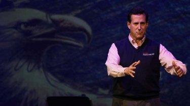 Republican presidential candidate, former US Senator Rick Santorum speaks at the Cathedral of Praise.