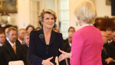 Julie Bishop is sworn in as Foreign Minister by Governor-General Quentin Bryce at Government House in Canberra on Wednesday 18 September 2013.