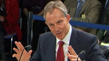 Sparked anger...Tony Blair at the Chilcot inquiry.