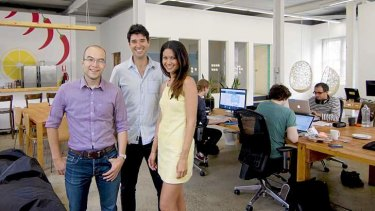 The Canva team: Cameron Adams, Cliff Obrecht and Melanie Perkins.