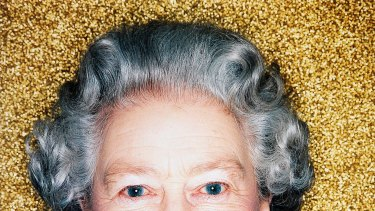 A portrait of the Queen taken for her Golden Jubilee,  from Polly Borland's Polyverse