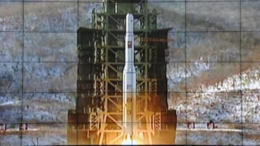 A rocket is launched from a launch pad at North Korea's satellite control centre in Cholsan county, North Pyongan province, in this file photo.