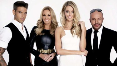 She's back: Australia's Next Top Model host Jennifer Hawkins with judges Didier Cohen, Charlotte Dawson and Alex Perry.