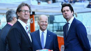 US Vice President Joe Biden spoke to Gillon McLachlan as Carlton took on West Coast at the MCG.