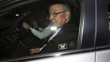 Cardinal George Pell arrives at the child sex abuse Royal Commission in Governor  Macquarie Tower today.