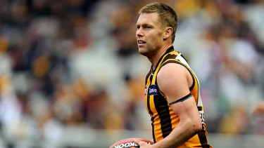 Near win: Hawk Sam Mitchell was best on ground in eight of his 20 matches.