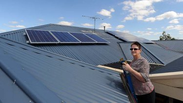 Dee Sauvarin with new solar panels on her Melton West home.