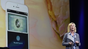 Jennifer Bailey, vice-president of Apple Pay, takes the stage at WWDC 2015.