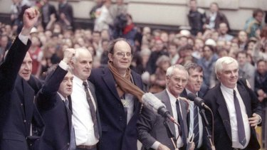 Justice ... members of the Birmingham Six, pictured in 1991 after their acquittal.