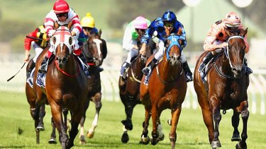 Heaven sent: Black Caviar strides clear of the field in the Coolmore Lightning Stakes.