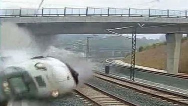 The Alvia model train derailing four kilometres from Santiago de Compostela in northwestern Spain.