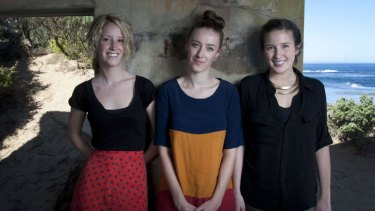 Aluka band members Sally Mortensen, Annabelle Tunley and Rachael Head took in the sounds of the ocean when recording at a World War II bunker at Point Lonsdale.