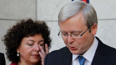 Poised to disappear ... Kevin Rudd, with tearful wife Therese Rein.