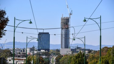 Reach for the sky: Apartment towers go up in Box Hill.