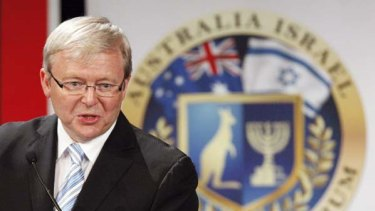 Kevin Rudd gives a speech at the Australia-Israel Leadership Forum in Sydney last year.