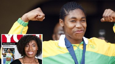Caster Semenya at the world titles last month and (inset) with a magazine makeover this week.
