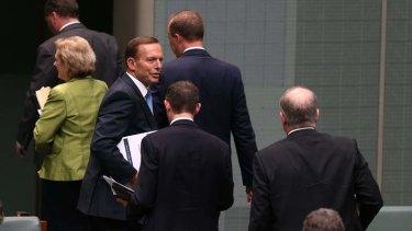 Prime Minister Tony Abbott departs Question Time on Monday. Photo: Alex Ellinghausen