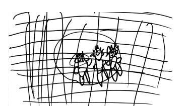 """""""My dad, me and my mum behind the fence at Nauru."""" Boy, 6 years. Drawings from young asylum seekers in 'The health and well-being of children in immigration detention' report."""
